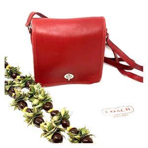 RARE! Vintage Coach Red Shoulder Bag Purse